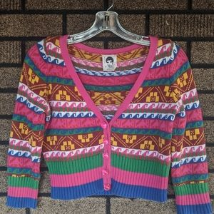 Betsey Johnson fair isle cropped cardigan punk